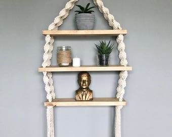 Triple Macrame Hanging Shelf // Boho Decor // Modern Macrame // Nautical Decor // Beach House Decor