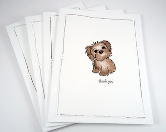Puppy thank you cards set (4), little dog note card set, cute dog thank you card, puppy note card, notecards, boxed card set of four,