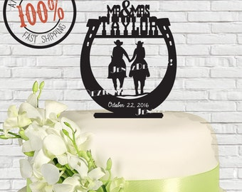 Personalized Western Horseshoe Couple Holding Hands Riders Mr & Mrs Surname Date Wedding Cake Topper  MADE In USA…..Ships from USA
