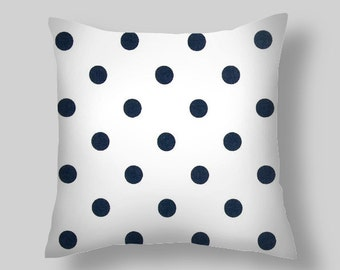 Navy  Blue Pillow Covers , Decorative Pillows,  Pillows, Throw Pillows, Pillow Covers, ArPolka Dots