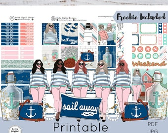 REFORMATTED Nautical printable planner stickers. Erin Condren and Happy Planner weekly kit.Glam girls glitter planner cruise fashion chic