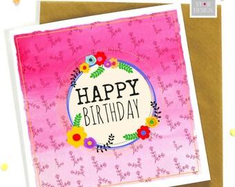 Happy Birthday Greeting Card, Special Friend, Boho Inspired