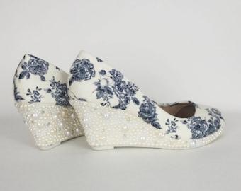 Bridal shoes, wedding shoes, custom wedding shoe, ivory wedding, floral wedges, pearl shoes, customized wedding shoe, off white shoe, bridal