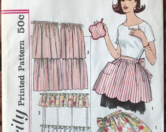 Simplicity 1960's UNCUT Pattern # 4215 - Scalloped Apron, Potholder, Scalloped Cafe Curtains, Cottage Curtains