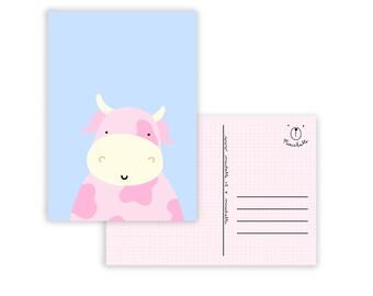Pastel card cow children