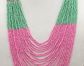 Pink, Mint, Peach and Mocha Multi Strand Long Necklace \ Multi Strand Statement Spring Colors Long Necklace.