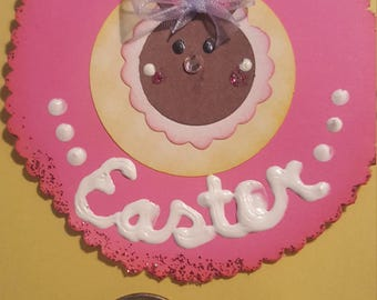 Pink easter bunny embellishment
