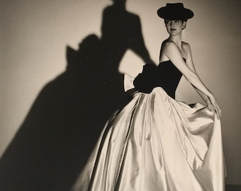 HORST P. HORST (1906-1999) COLLECTIBLE Signed Photograph of Model in evening gown. 16x20 Silver Gelatin Print