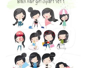 Black hair Girl ,girl stickers set 1, instant download PNG file - 300 dpi