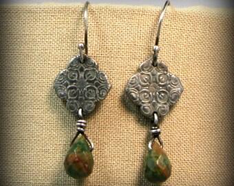 White bronze and rain forest jasper earrings - hand made