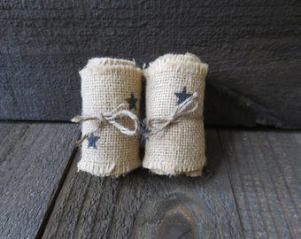 Primitive Country 3 in Wide Rustic Americana Black Stars Burlap Ribbon 72 inches Long Unfinished Edge