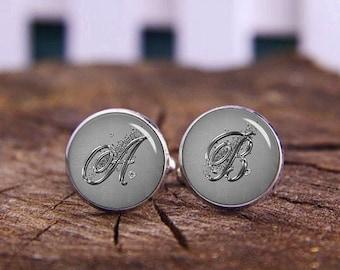 Elegant Silver Monogram Cufflinks, Elegant Silver Initials Cufflinks, Custom Initials Cufflinks, Custom Wedding Cufflinks, Tie Clips, Or Set