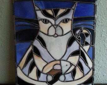 Digital Stained Glass Pattern - Cat & Mouse • Resale Friendly