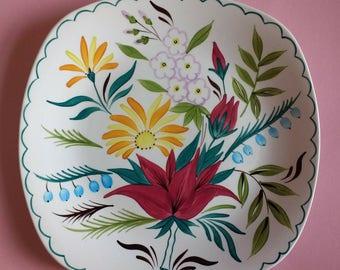 Vintage Mid Century Midwinter Stylecraft Bella Vista handpainted colourful cake plate. Vintage tea party. Kitchenalia. Country kitchen.