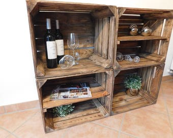 4 Decorative flamed Wooden crates Combination Package