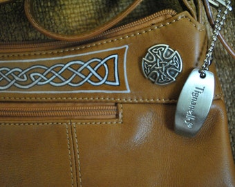 Tignanello Celtic stylized  tan leather reimagined shoulder bag handpainted by Wes Connell