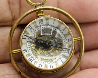 Double Sided Glass Brass Bubble Pocket Watch with 28 Inch Brass Chain