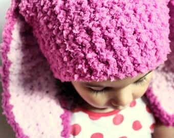 3 to 6m Raspberry Bunny Hat Pink Baby Hat, Infant Baby Girl Hat Bunny Beanie Crochet Bunny Ears Rabbit Photo Prop   Winter Baby Gift