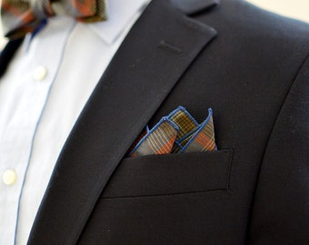 Pocket Square in Brown and Blue Plaid- cotton handkerchief wedding groomsmen pale blue navy blue red stripes