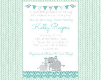 Mint Green and Gray Elephant Baby Shower Invitation / Elephant Baby Shower / Baby Shower / Gender Neutral / Neutral Shower Invitation