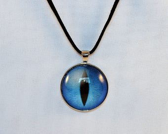 Large Blue Handcrafted Glass Dragon Eye Necklace - Large Blue Dragon Eye - Dragon Eye Necklace - Glass Dragon Necklace - 13-004-18-19 - 22
