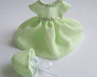 "Ginny 8"" Doll Clothes, ""Mindy"" Light Green Sequinned Dress and Bonnet"