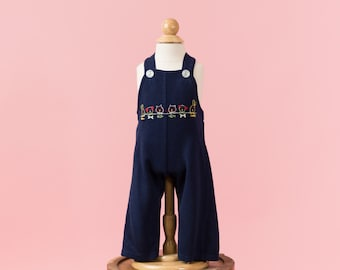 Vintage Navy Blue Animal Embroidered Overalls (Size 3 Months)