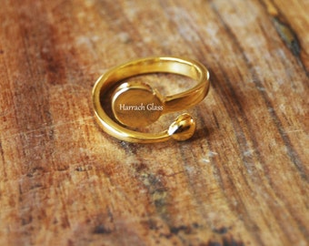Adjustable 18K Gold Plated Ring Blank