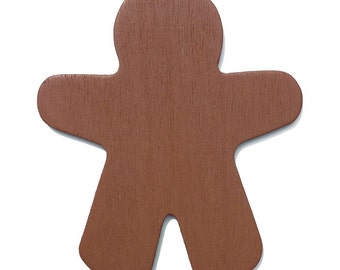 25 Brown Wood Gingerbread Man Cut-Outs - 3 7/8 Inch Ready to Decorate, Gingerbread Color