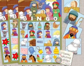 Nativity Christmas Bingo Game, Bingo Printable Holiday Bingo, Religious Christmas Party Game, Preschool activity, kids Christmas party