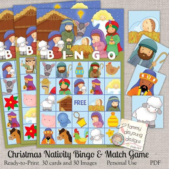 Sunday School Christmas Party Games: Nativity Christmas Bingo Game Bingo Printable Holiday Bingo