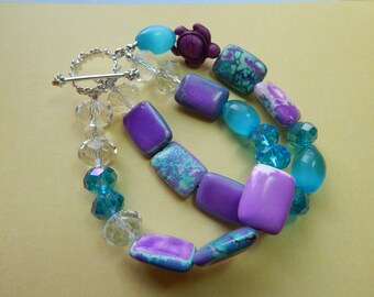 Purple and Aqua Summer Beaded Braclet withTurtle Charm