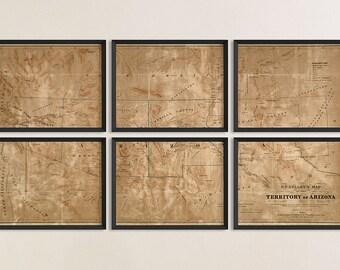 Arizona Map, New Mexico Map, Antique Map Art Print Set, 1860, Archival Reproduction, Set of 6 Prints