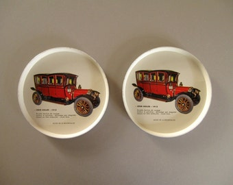 FRENCH VINTAGE COASTERS /Pair of 2 / Large / Bottle coasters / Metal / Old car / Bar / Drinkware / Collectible / Kitchen / French home decor