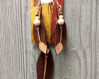 Leather earrings hand tooled custom feather earrings and necklace
