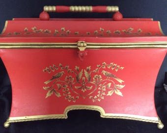Red & Gold Toleware painted tin box