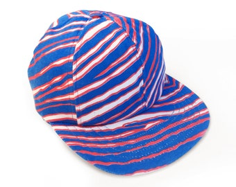 Authentic 80s Zubaz Zebra Allover Print Deadstock 50/50 Polycotton Snapback Baseball Cap