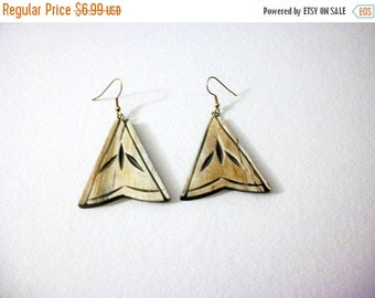 ON SALE Vintage Tribal African Wooden Carved Hand Made Longer Earrings 8516