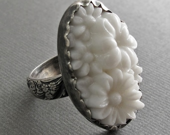 White Garden Ring - Sterling Silver and Vintage Glass