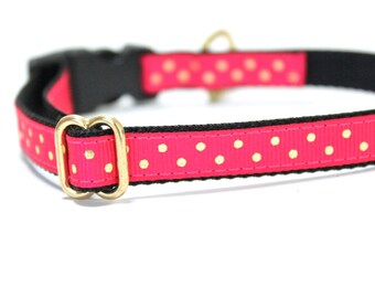 Fancy Dog collar, Pink polka dots collar, Girl Dog Collar