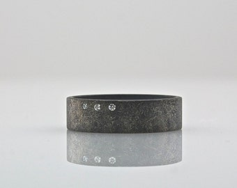 Three Diamond Ring - Wide Band - Men's or Women's Wedding Band  - Oxidized Sterling Silver Rough Finish - Eco Friendly Artisan Ring