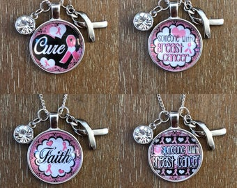 Breast Cancer Awareness Ribbon Charm Necklace