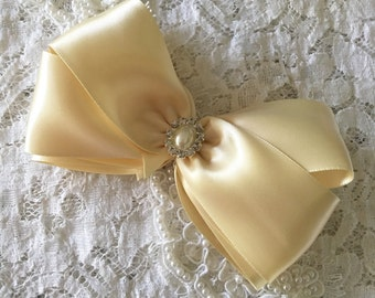 """Pageant Hair Bow, 5"""" Double Satin Bow in Champagne, Ivory, Girls Glitzy Hair Bow, Flower Girl, Christening, Baptism, Quinceanera, Wedding"""