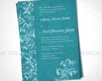 Aqua Floral Flourish Wedding Invitation DIY Printable