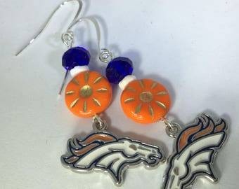 Denver bronco colored earrings, Denver bronco charm earrings, Orange and blue bronco earrings