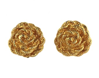 vintage 1980's TED LAPIDUS earrings / gold / clip on earrings / rope rosettes / statement earrings / costume jewelry / vintage jewelry