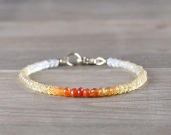 Ombre Carnelian & Citrine Beaded Bracelet in Sterling Silver or Rose Gold Filled, Yellow Orange Delicate Gemstone Bracelet, Citrine Jewelry