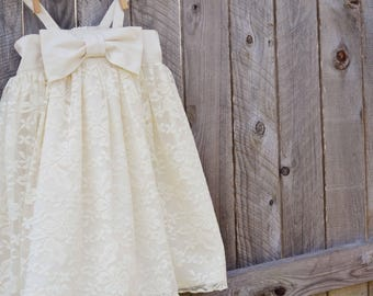 Dress - Girls Dress - Lace Dress - Flower Girl Dress - Bow Dress- Sun Dress - Special Occasion Dress - Girls Fancy Dress - Girls Party Dress