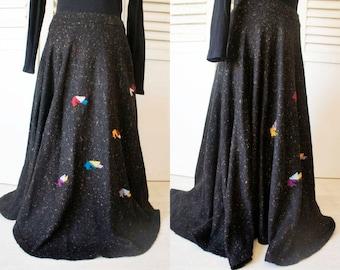80s Wool Asymmetrical Vintage skirt. Knit long vintage skirt. Geometric print skirt.