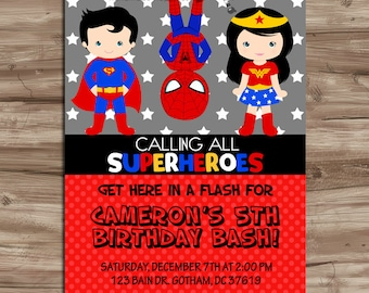 SUPERHERO Invitation Superhero Invitation Superhero Invitation SuperHero Invite Invitation Superheroes Birthday, Digital Printable JPG File